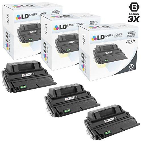 LD Compatible Replacements for HP 42A / Q5942A 3PK Black Laser Toner Cartridges for LaserJet 4250tn, 4250, 4350dtn, 4350n, 4240n, 4250dtnsl, 4350, 4350dtnsl, 4240, 4250dtn, 4350tn, (42a Laserjet)