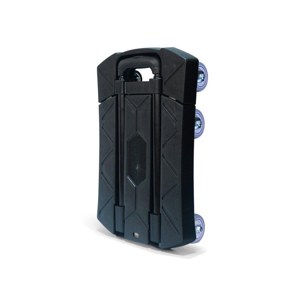 ショッピングカート 折りたたみ式ポータブル小型トレーラー家庭用引き出し式トラックキャリー付きフラットカートロード荷物用カートミュートトロリーハンドトラック (色 : Black) B07FKRV1TX  Black
