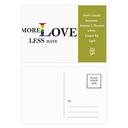 LGBT Bandera arcoíris más amor menos odio poesía Postal Set ...