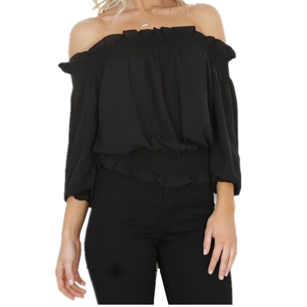 Women\'s Off Shoulder Crop Tops Blouses Lettuce Trim Casual Shirts New Summer Cold Silk Tunic