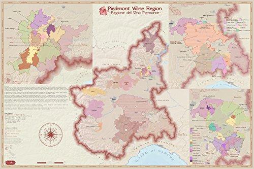 Wine Art - Wine Region Map of Piedmont, Italy (Satin (Wine Region Map)