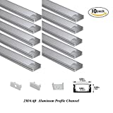 Hanks 10Pack 2M/6.6ft 17.5x7mm Surface Mounted LED Aluminum Profile With Milk Cover End Caps and Mounting Clips Aluminum Channel for Width <12mm Strip Light (10X2M Milk)