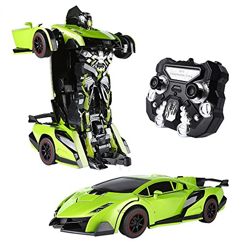 SainSmart Jr. Transform Car Robot, Electronic Remote Control RC Vehicles with One Button Tranforming and Realistic Engine Sound, for Kids(Green) -