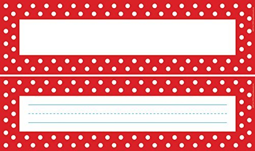 Barker Name Tags - Barker Creek - Office Products Double-Sided Red & White Dot Desk Tags (LL-1429) by Barker Creek - Office Products