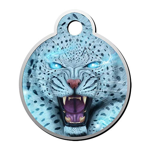 (Qeksow Customizable Round Shape ID Tags, Fantasy Roaring Lightning Cheetah Personalized Double Sided Printed Pet Information Collar for Cat Dog)