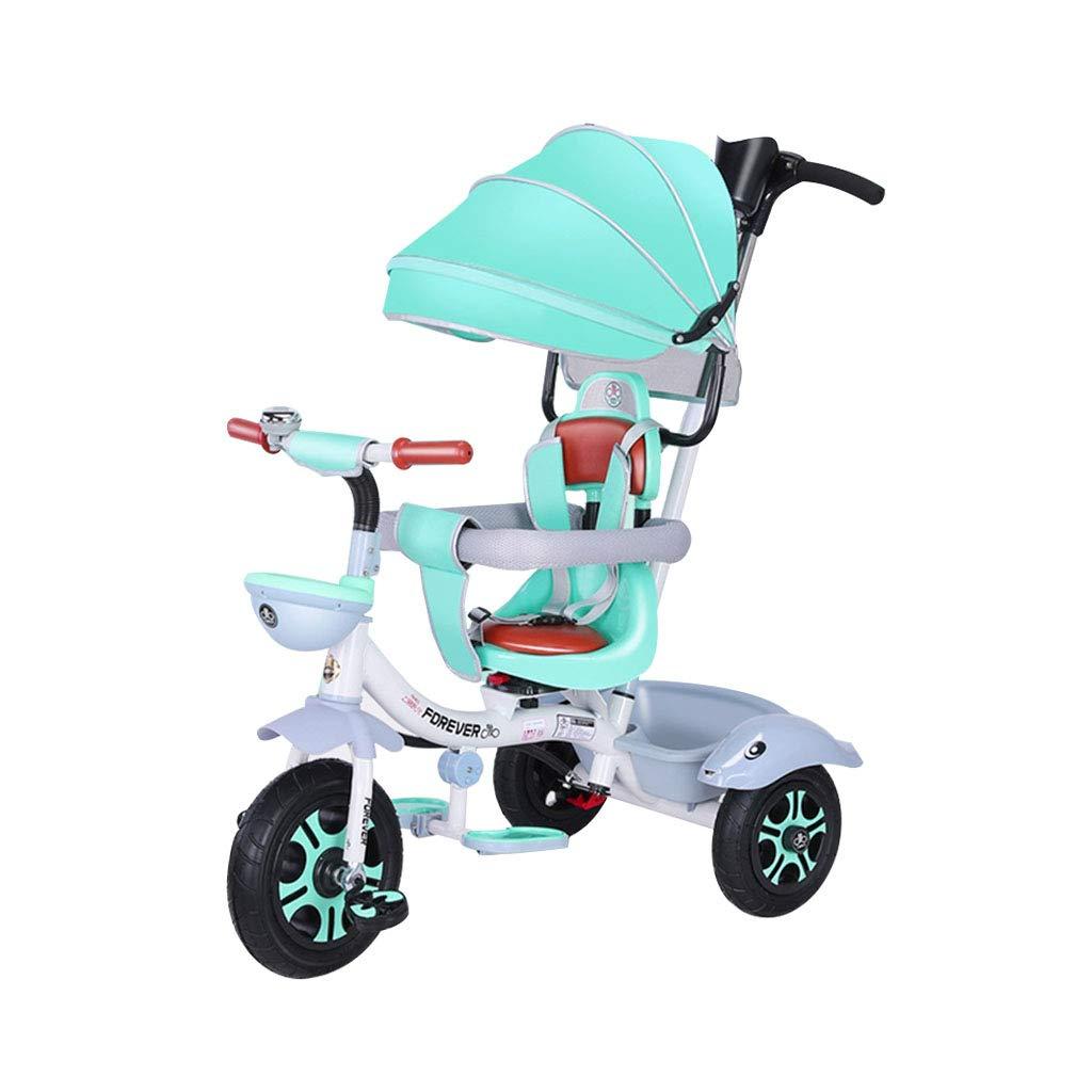 Bicicleta 4 en 1 Carrito de 3 Ruedas Ruedas de Goma para niños de 1-3 a 6 años Triciclo de niños multifunción Giratorio de Bicicleta de bebé giratoria para ...