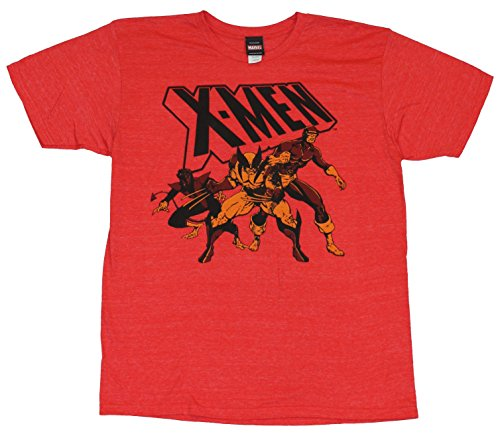 X-Men (Marvel Comics) Mens T-Shirt - Nightcrawler Wolerine & Cyclops Faded Trio (Large) Red
