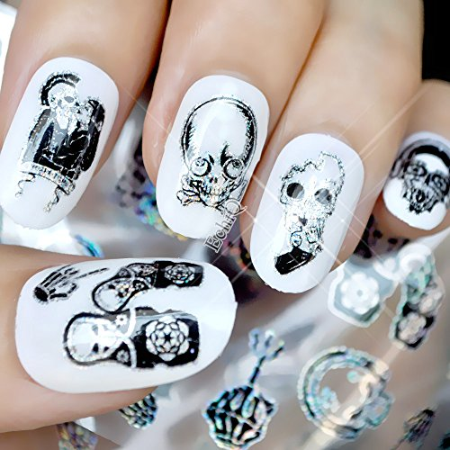 (CoolNail Harajuku Zombie Pirates Skull Nail Foil Manicure Halloween Decoration Nail Art Transfer Sticker Holographic Starry Paper)
