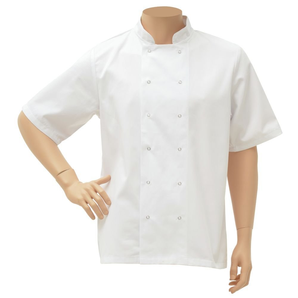 HUBERT White Poly Cotton Short Sleeve Chef Coat - Extra Large