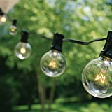 100 Ft G40 String Lights with 100 Globe Lights (Plus 20 Extra Bulbs) for Indoor & Outdoor Use - Perfect for Wedding Lights (Black)