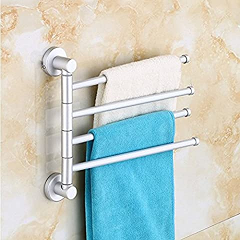 B&Y Durable Wall-Mounted Aluminium Alloy Swing Bathroom/Kitchen Towel Bar Rack Hanger Holder Organizer(4-Arm)