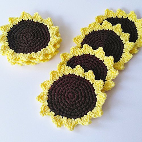Crochet Sunflower Coasters Set of Four Flower Gifts for Home