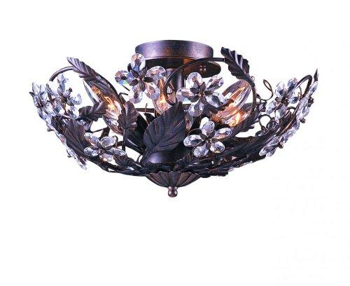 Crystorama Round Chandelier - Crystorama 5316-DR, Abbie Round Crystal Semi Flush Ceiling Lighting, 6 Light, 360 Total Watts, Rust