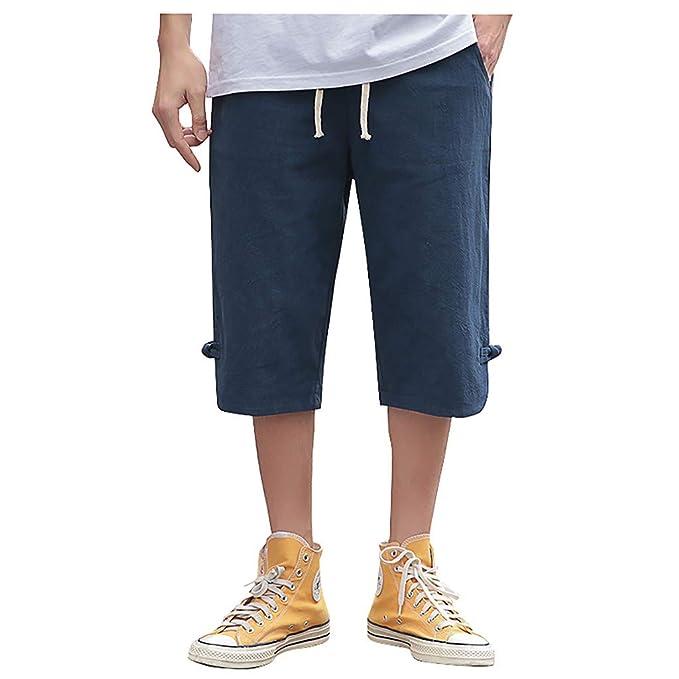 Darringls Pantalones Cortos Hombre, Hombres Verano Capri 3/4 ...