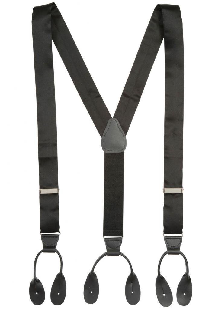 Hold'Em 100% Silk Suspenders For Men Y - Back Fancy Solid Button End Dress Suspender Made in USA – Many Colors and Designs Perfect for Tuxedo - Black