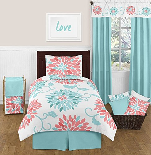Turquoise and Coral Emma 4 Piece Kids Teen Modern Twin Bedding Set ()