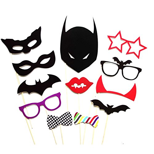 Tinksky 30pcs Photo Booth Props Glasses Moustache Red Lips Bow Ties Masks Kit for Party Fun Wedding Birthday Favor