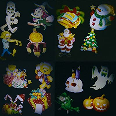 Halloween Christmas Led Light Projector with Remote Bright Xmas Snowflake Landscape Spotlight 16 Slides Dynamic Lighting Outdoor Indoor Projection Decoration Lamp Show for Party Holiday Sunflower