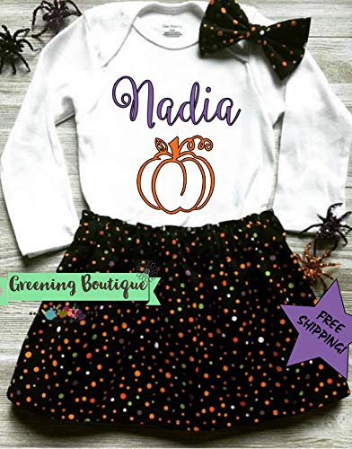 Personalized Name Halloween Outfit, Pumpkin Outfit, Baby Halloween -