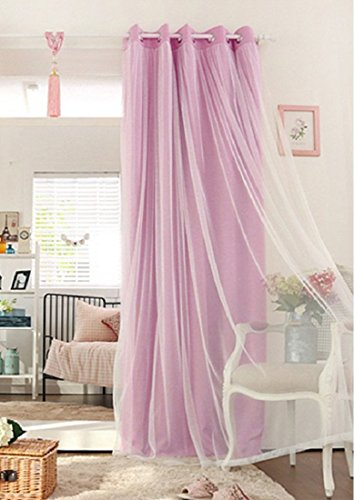 Didihou Voile Mix Match Blackout Curtain Elegant Panel Double Layer Darkening Thermal Insulated Window Treatment Grommet Drapes for Living Room Girls Bedroom, 1 Panel (52W x 84L Inch, Pink) (Double Panel Curtains)