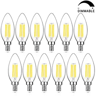 Dimmable LED Candelabra Bulb 60W Equivalent, 5000K Daylight White, 6W Chandelier LED Filament Light Bulbs 600Lumens, E12 Base, B11 Decorative Candle Bulb Pack of 12