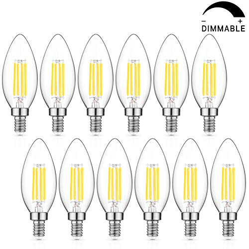 Dimmable LED Candelabra Bulb 60W Equivalent, 5000K Daylight White, 6W Chandelier LED Filament Light Bulbs 600Lumens, E12 Base, B11 Decorative Candle Bulb Pack of 12 ()