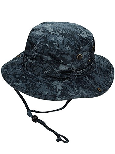 (MG Men's Washed Cotton Twill Chin Cord Outdoor Hunting Hat, Midnight Digital, L)