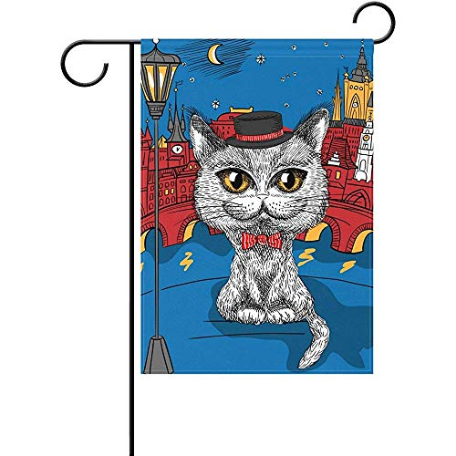 (Johnnie Cat in Prague Castle and Charles Bridge Welcome Garden Flag 12 X 18 Inches, Double Sided Seasonal Outdoor Flag and Best for Party Yard Home)