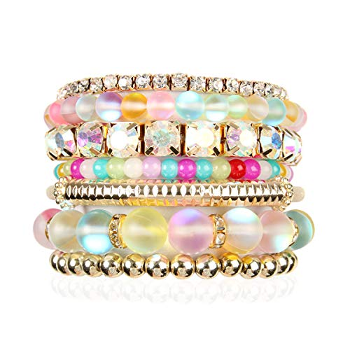 RIAH FASHION Multi Color Stretch Beaded Stackable Bracelets - Layering Bead Strand Statement Bangles (Mermaid Glass - Multi-Color, - Box Beaded Jewelry Gemstone
