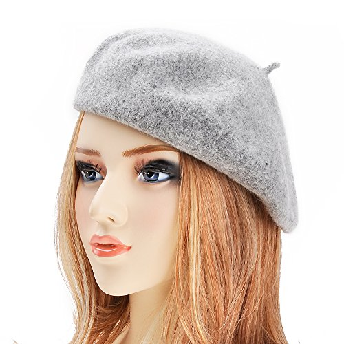 Wool Beret Hat (Wool Beret Hat Classic Solid Color French Beret for Women by ZLYC (Light Gray))