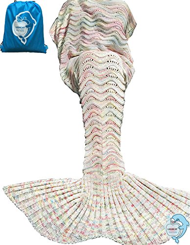 LAGHCAT Mermaid Tail Blanket Knit Crochet and Mermaid Blanket for Adult,Oversized Sleeping Bags (75''x35'', Beige)