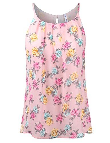 JJ Perfection Womens Sleeveless Floral Print Chiffon Blouse Tank Top Pink 2XL