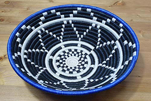 Hand Woven African Basket - Decorative Woven Bowl - Sisal & Sweetgrass Basket Handmade in Rwanda ~12'' Azure Blue, White, Black, - Woven Africa Hand Basket