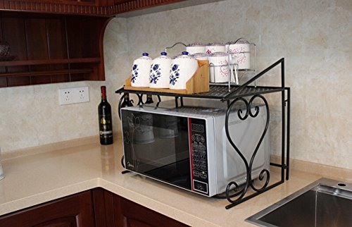 [Dazone Metal Microwave oven shelf Kitchen Counter and Cabinet Shelf (Black)] (Metal Rack Microwave)