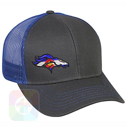 Custom Tshirts and Hats Broncos Colorado Flag Structured Snapback Baseball Mesh Hat Cap #1487