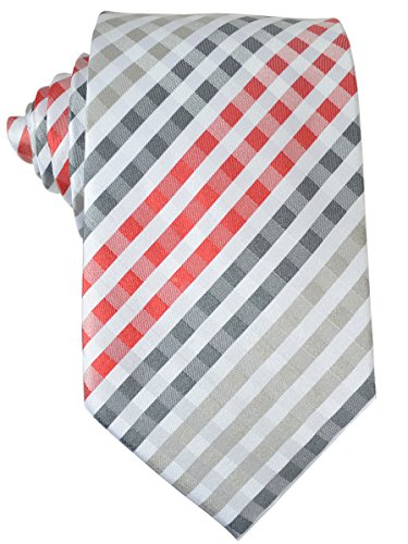 Red and Grey Gingham Paul Malone Silk Tie and Pocket (Red Gingham Pocket Square)