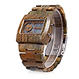 GBlife BEWELL Bamboo Handmade Wooden Men Quartz Watch with Double Movement Wrist Watch