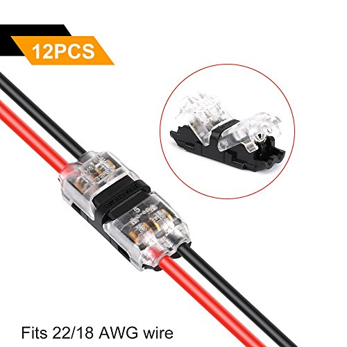 Tyumen Low Voltage Wire Connectors, 12pcs 2 Pin 2 Way Universal Compact Wire I Shape Terminals, No Wire-Stripping Required, Toolless Wire Connectors, Quick Splice Wire Wiring Connector for AWG 18-24