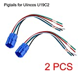 NOT FIT U19D1, 19mm Pigtail, Wire Connector, Socket Plug for U19C1, U19C2 Push Button Switch (Pack of 2)