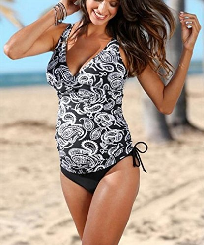Bandage Swimsuit Floral 2 Pièces Sans Elégant Up Triangle De Aeneontrue Double Bain Beachwear Gilet Eté Tops Femme Swimwear Maillot Tankini Manches Taille Shorty Imprimé Grande SWwSx864n