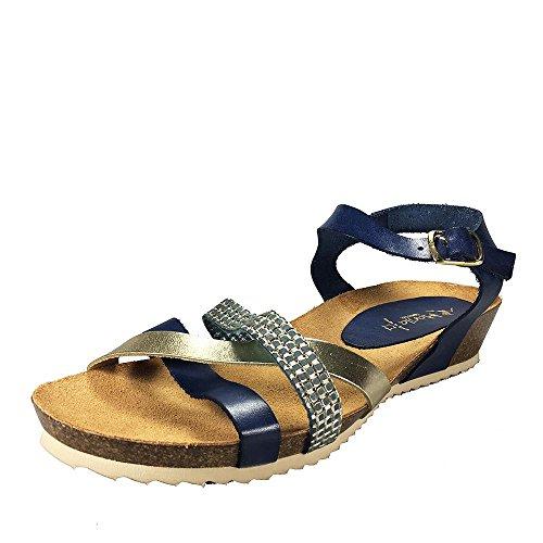 Sandalia piel marino-platino. Planta Bio. Talla 39