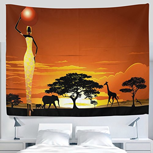 Elephant Lion Giraffe Sunset Sunlight Tapestry Wall Hanging