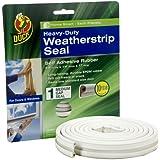 Duck Brand 282435 Heavy-Duty Self Adhesive Rubber Weatherstrip Seal for Medium Gap, 3/8-Inch x 1/4-Inch x 17-Feet, 1 Seal
