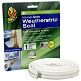 Duck Brand 282435 Heavy-Duty Self Adhesive Rubber Weatherstrip Seal for Medium Gap, 3/8-Inch x 1/4-Inch x 17-Feet, 1 Seal