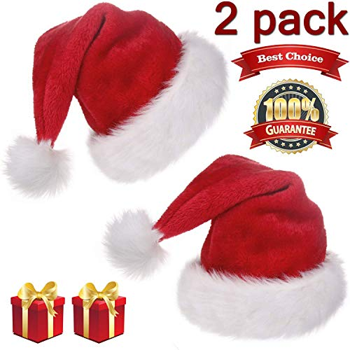 2 Pack Christmas Santa Hats for Adults Double Liner Plush Red Velvet Claus Hat Xmas Cosplay Holiday Birthday Gifts -