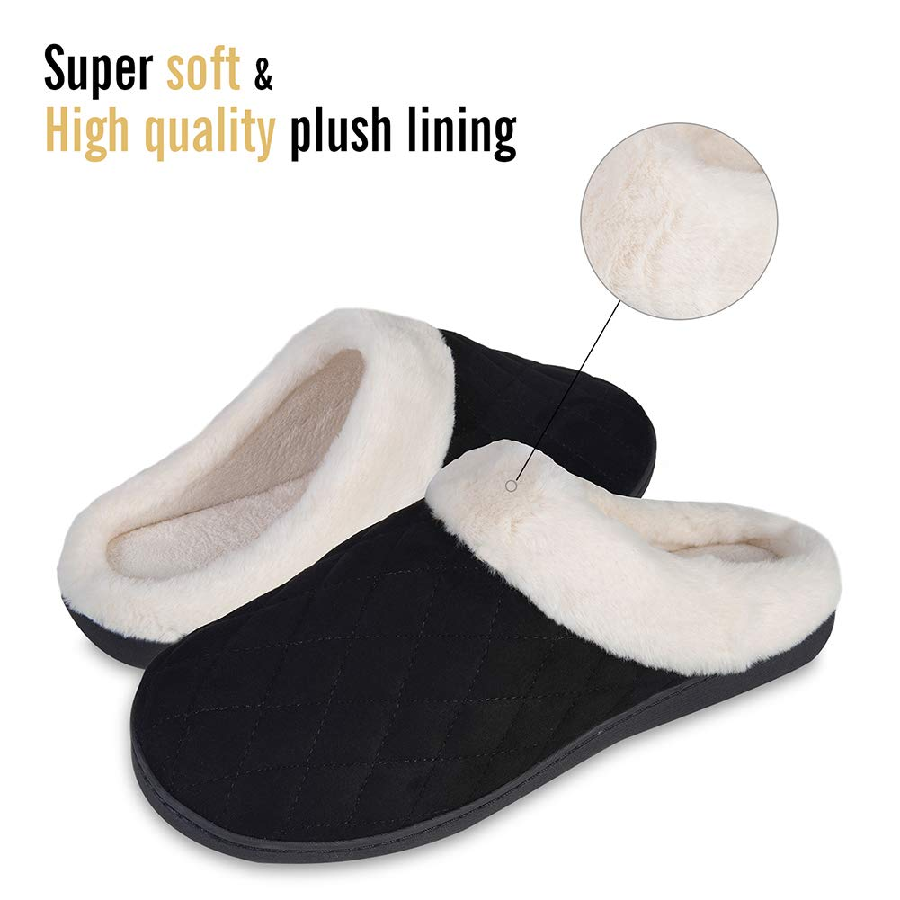 YALOX Slippers for Women Warm Memory Foam Slip on House Shoes Mens Cotton Comfortable Fleece Plush Cozy Home Bedroom Shoes Indoor /& Outdoor