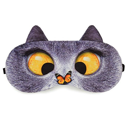 Zabrina Fuuny Creative Animated Cartoon 3D Cat Eyes Meow Sleep Mask Ice Pack Patch for Hot & Cold Therapy Light Shading Cover