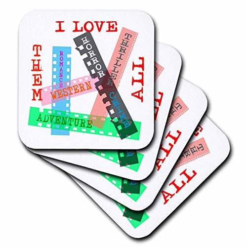 3dRose Alexis Design - Positive - Film Genres titles on color films. I love them all on white - set of 8 Coasters - Soft (cst_273743_2)