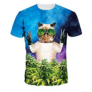 Cool Sunglasses Cat Tops Forest Printing T-shirts for Workout Casual , (M=US S)