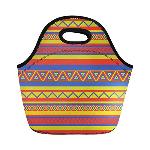 Semtomn Lunch Tote Bag Latin Bright Coloured Ethnical Mexican Geometric Pattern Southwest Abstract Reusable Neoprene Insulated Thermal Outdoor Picnic Lunchbox for Men Women